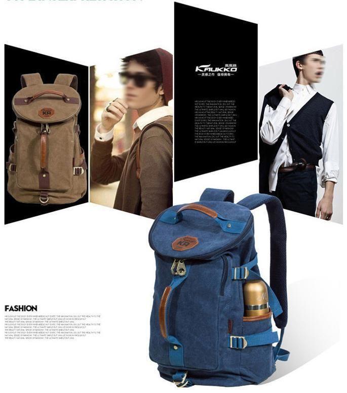 Kaukko Unisex Backpack Canvas Casual Style Outdoor Gear FS224 Traveling #Kaukko