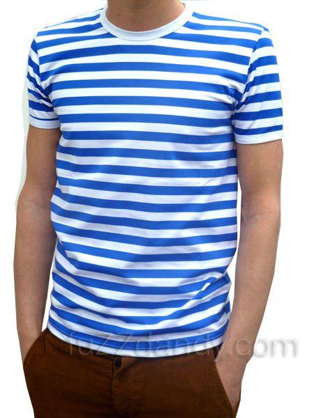 Herren Streifen T-Shirt Blau Weiß gestreift Indie Matrosen Popper Stil  NEU