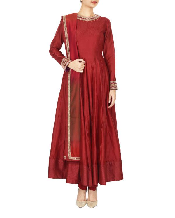 Guldasta deep red chanderi anarkali set |  Shop now: www.thesecretlabel.com