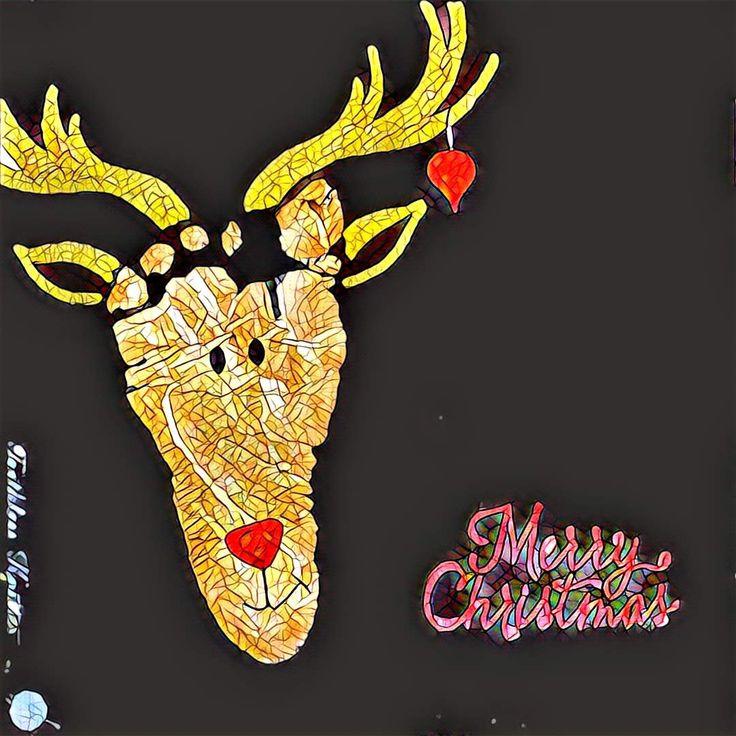 Kartka Bożonarodzeniowa z Odciskiem Stopy - Renifer / Reindeer Footprint Christmas Cards