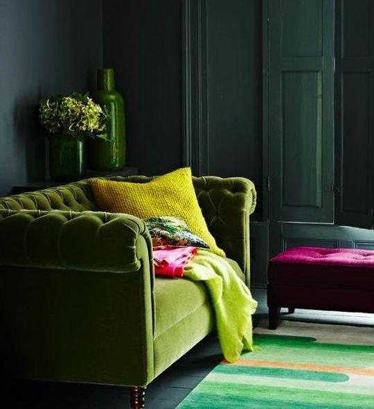Using Pantoneu0027s Colour Of 2017, Greenery. Green Velvet SofaGreen ...