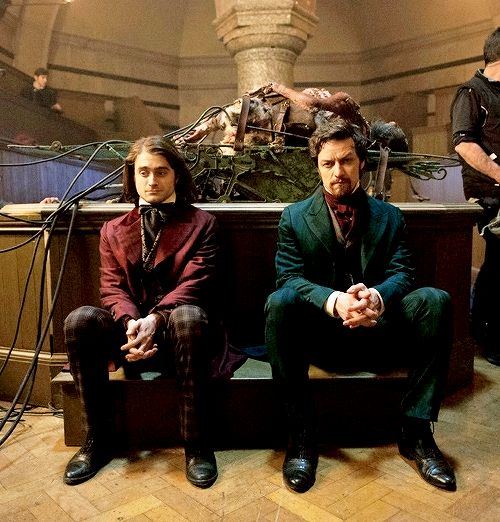 First look at Daniel Radcliffe and James McAvoy in Victor Frankenstein (2015)Note the heavyweight leather jerkin and googles adorning McAvoy's not-entirely-good doctor. The monster he's creating – the film's big reveal – is akin to something terrible birthed from the Industrial Revolution, a steampunk messiah that may just destroy its own creator. Note, too, Radcliffe's ramrod posture as he remains in character for this between-takes snap. Clearly Dr. Frankenstein's unique brand of…