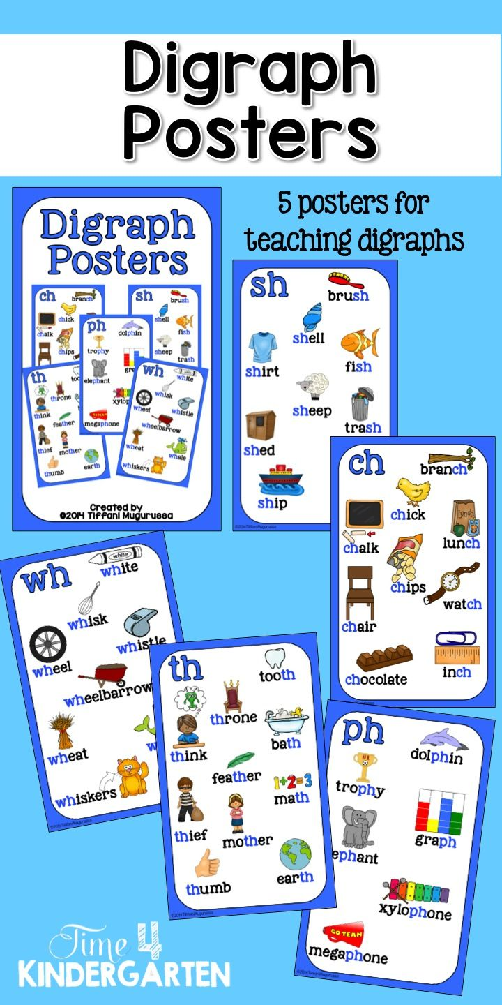 Digraph Posters | Kindergarten, Phonics and Students