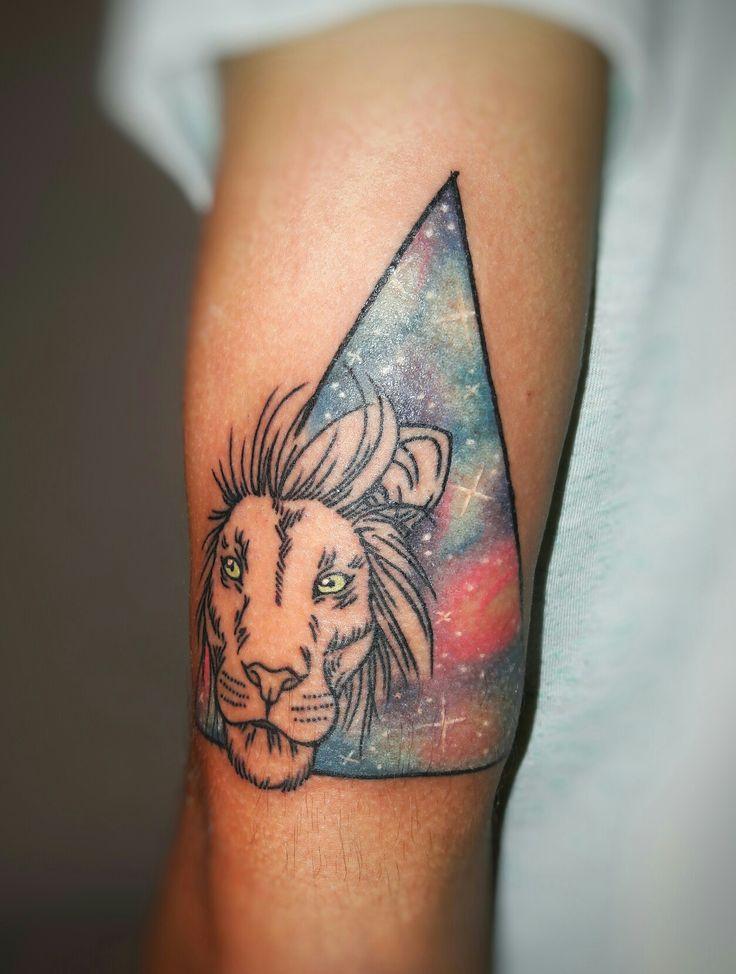 Lion & universe tattoo