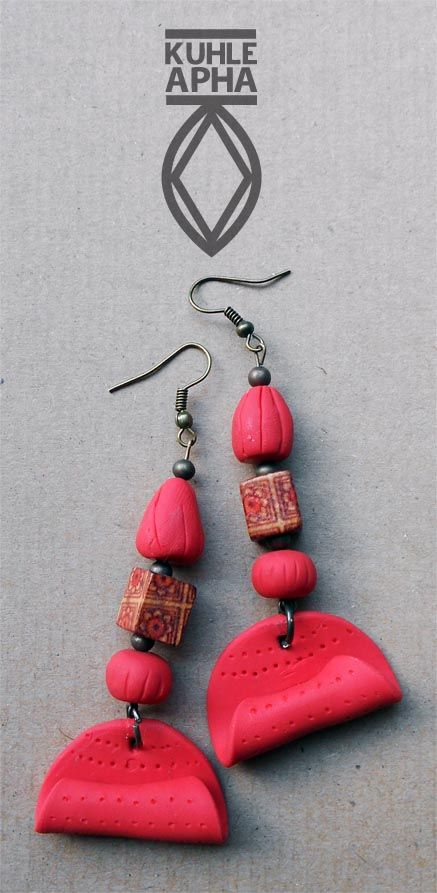 Red clay bead earrings by Kuhle Apha