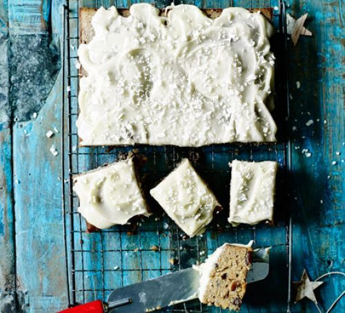 Christmas white chocolate traybake