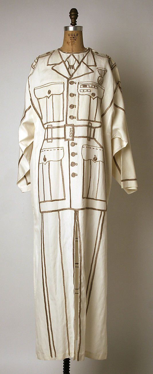 "White linen trompe l'oeil ""army uniform"" dress by Jean-Charles de Castelbajac, French, 1994."