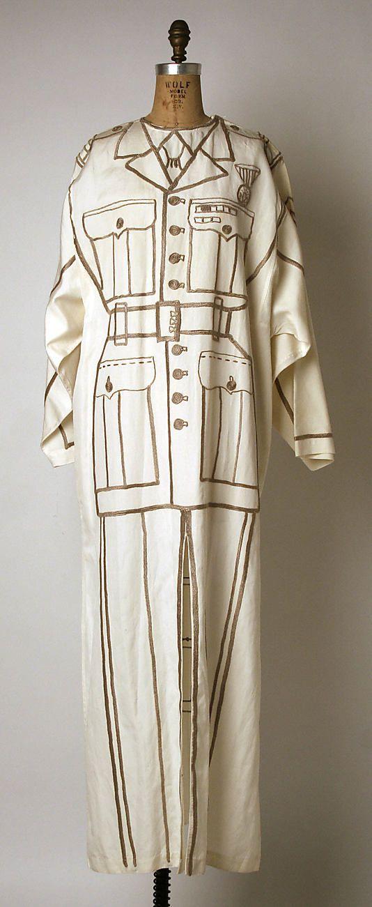 "White Linen Trompe L'Oeil ""Army Uniform"" Dress by Jean-Charles De Castelbajac, French, 1994 via MetMuseum.Org"
