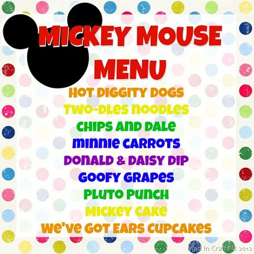 Love this, I'm gonna do Hot Diggity Dogs (pigs in blankets) Mickey's Meatballs (my sweet & sour cp meatballs) Two-dles Noodles (my macaroni salad) & Clubhouse Cupcakes.. i might do fruit & fruit dip (Goofy's Grape Salad w/ Donald & Daisy Dip)