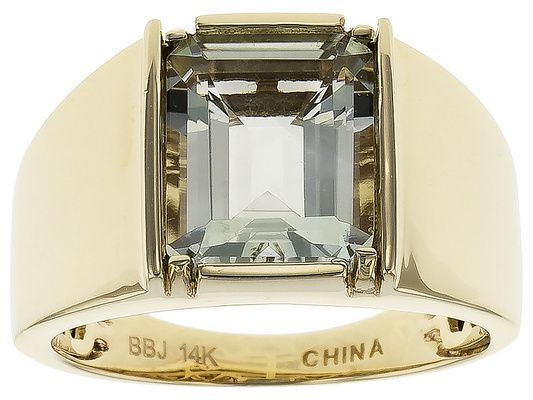 3.54ct Prasiolite Solitaire 14k Yellow Gold Gents Ring