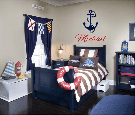 """Nautical Vinyl Wall Decal Personalized Name Wall Decals Sailboat Anchor Wall Decals for Boy Baby Nursery Boys Room 22""""Hx22""""W Wall Art FS249. $35.00, via Etsy."""