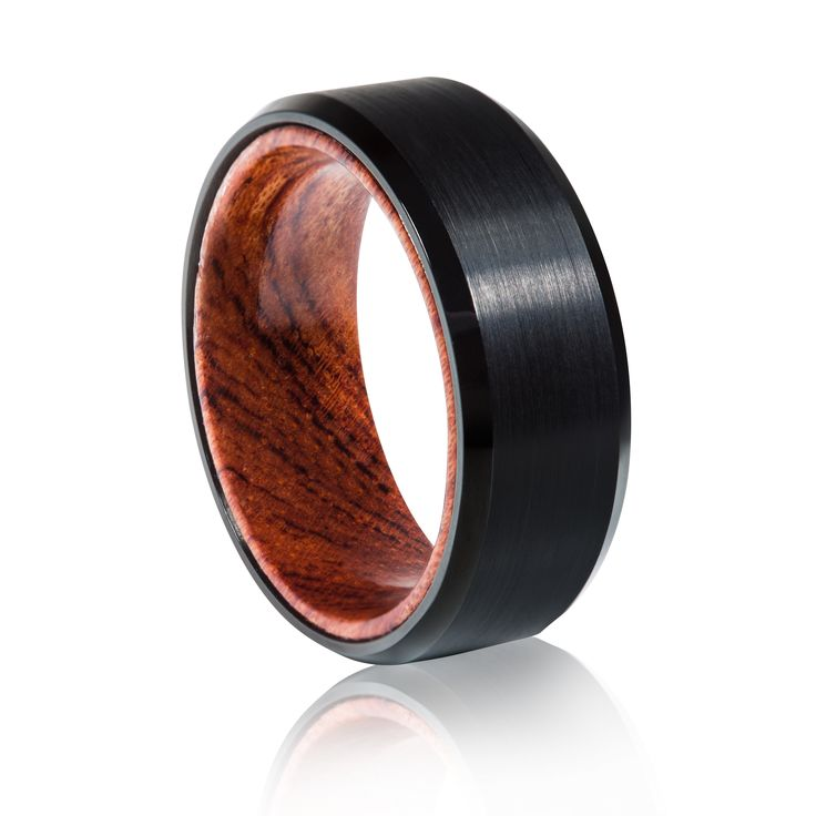 TUR 705BP - 8mm Men's Tungsten Carbide Wedding Ring. Black plated with Koi wooden inlay.