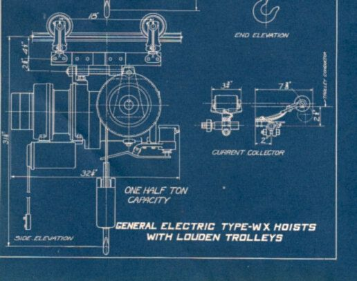 Antique Print Engineering Blueprint Electric Hoist And