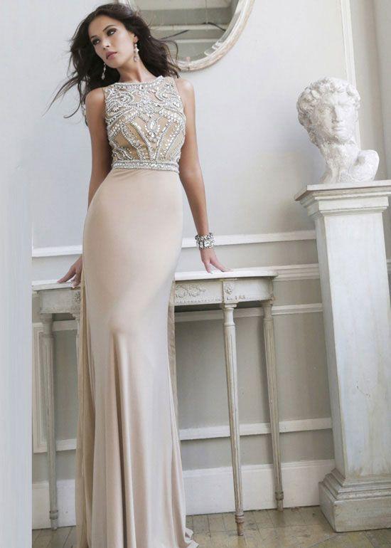 Flowy High Neck Nude Silver Beaded Chiffon Sherri Hill 11069 Prom ...