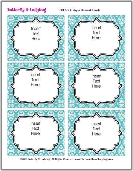 Instant Download Editable Printable Aqua Damask Tags