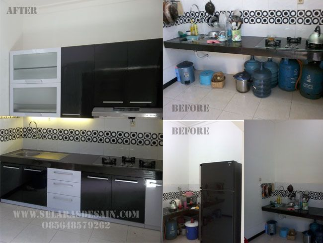 Desain kitchen Set Elegan Dengan Nuansa Hitam Putih