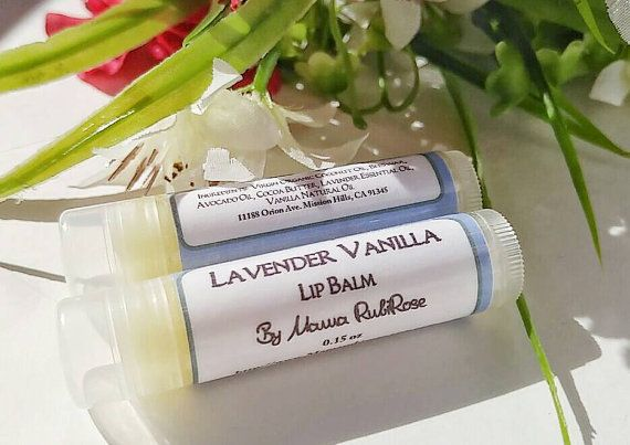 Natural Lip Balm  Lavender Vanilla Lip Balm  by MamaRubiRose