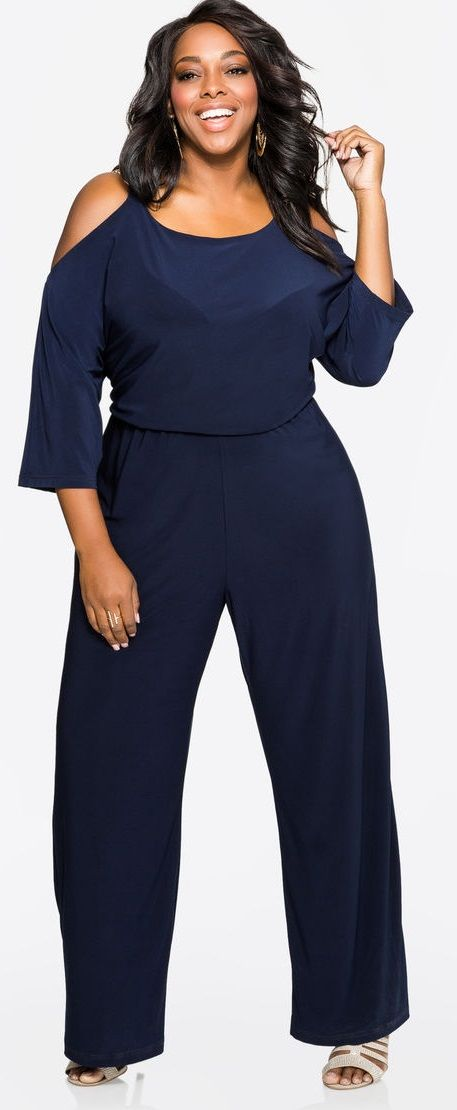 Plus Size Chain Link Cold Shoulder Jumpsuit Plus Size
