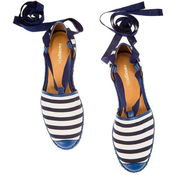 Zamagni Navy striped canvas ribbon laces flat sandal ($130) ❤ liked on Polyvore featuring shoes, sandals, flats, scarpe, navy flat sandals, woven sandals, navy blue shoes, navy flats and braided sandals