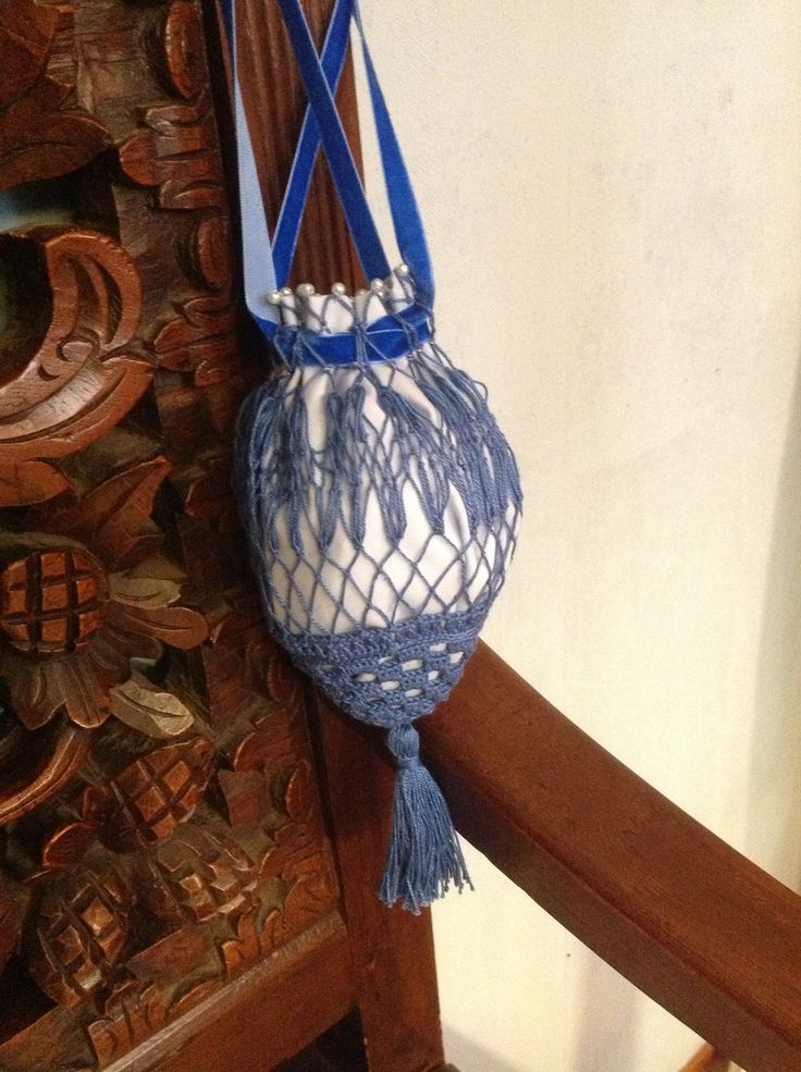 Regency Reticule. Netting and crochet. Cotton. Miss Galindo