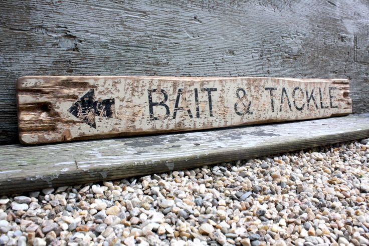 Bait and Tackle Rustic Distressed Fishing Wood Lodge Log Cabin Sign by TheUnpolishedBarn on Etsy https://www.etsy.com/listing/169394958/bait-and-tackle-rustic-distressed