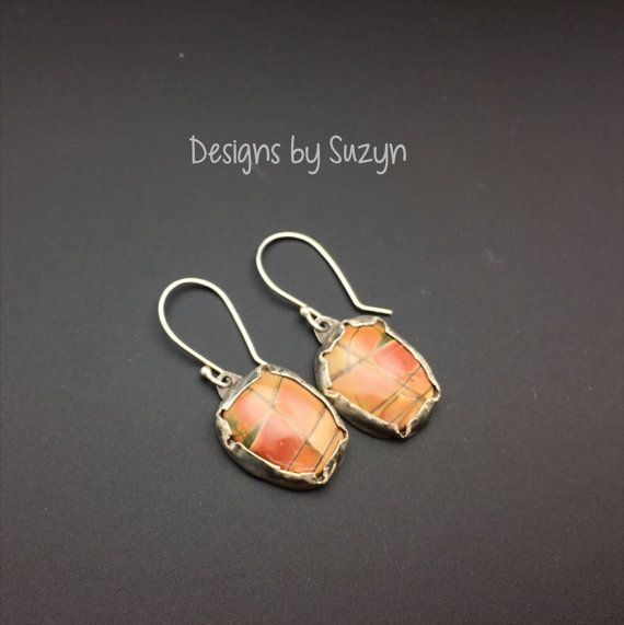 Peach Picasso Jasper and Sterling silver by designsbysuzyn on Etsy