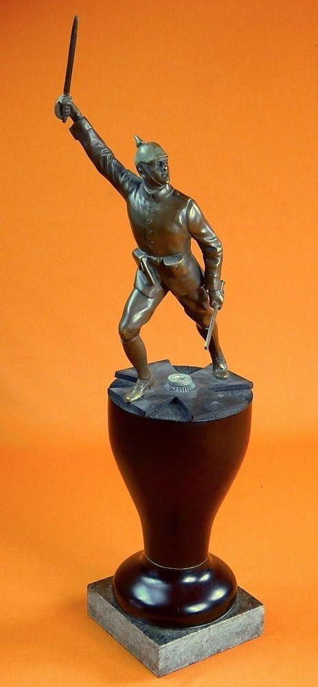 German Germany Ww1 Wwi Bronze Soldier Figurine Statue
