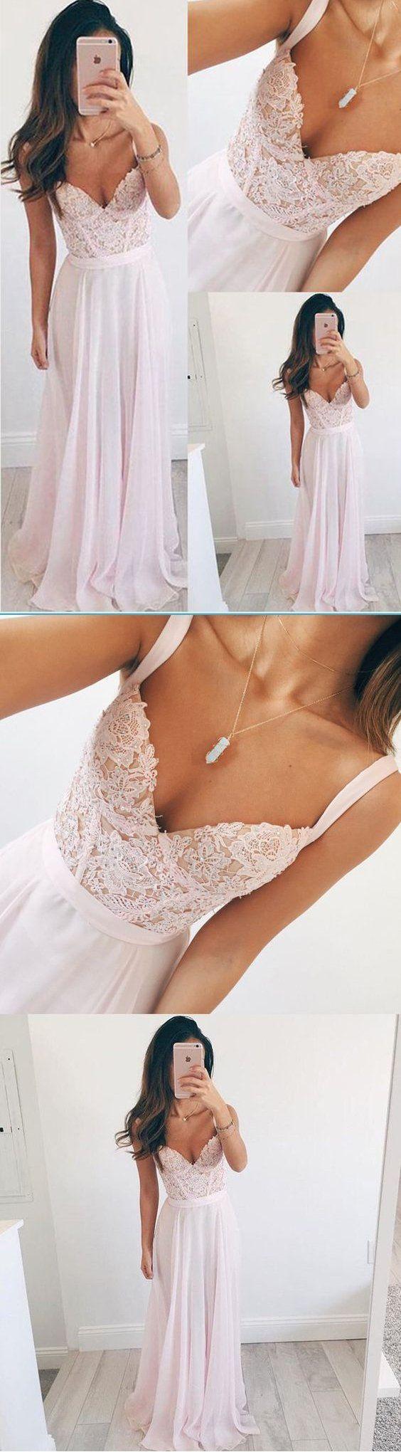 Long Chiffon Baby Pink Long Prom Dress A line Spaghetti Straps Lace Evening Dresses #promdress #promdresses #promgown #promgowns #long#chiffonprom #modestpromdress #newpromdress #2018fashions #newstyles
