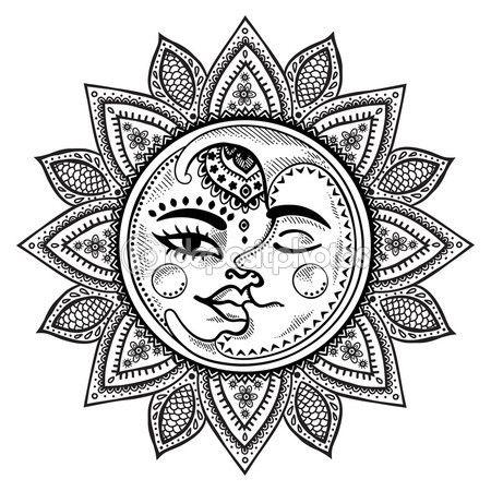 Солнце и Луна Винтаж Иллюстрация — стоковая иллюстрация #81399488