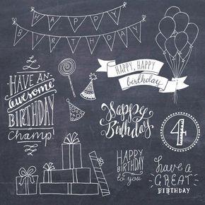 Happy Birthday Clip Art Set // Hand Lettering Word Art // Photoshop Brushes PSD Vector // DIY Card // Girl Boy Party // Commercial Use – Christine Krämer
