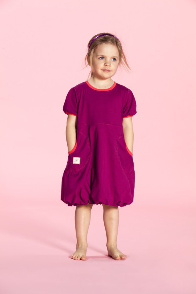 Puffi Dress Trikoo- Cranberry/Chorall