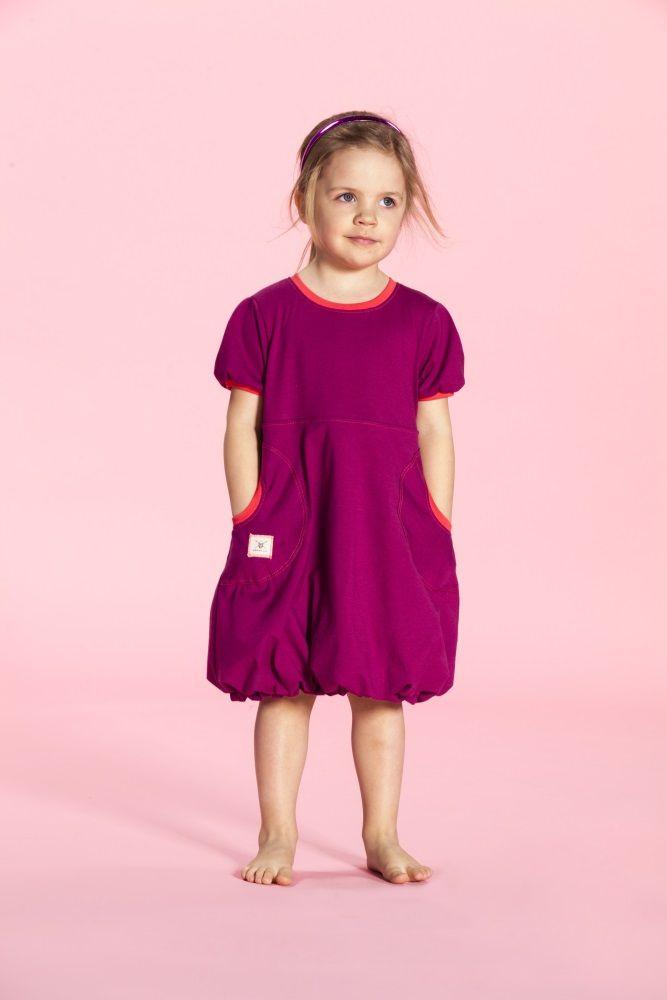 Puffi Dress Trikoo- Cranberry/Chorall