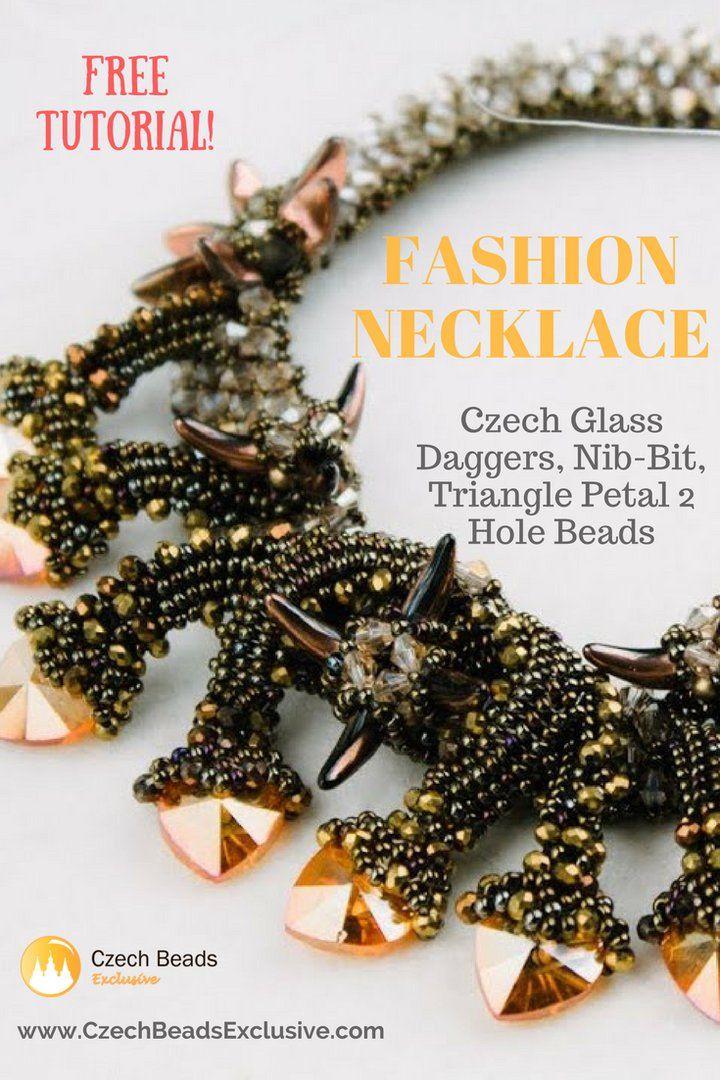? Czech Glass Daggers, Nib-Bit, Triangle Petal 2 Hole Beads - Fashion Necklace! - Free Video Tutorial Pattern  www.CzechBeadsExclusive.Com ------ #dagger #daggerbeads #petal #petals #roundbeads #czechseedbeads #seedbeads #biconebeads #rivoli #rondelle #rondellebeads #czechglassbeads #glassbeads #CzechBeadsExclusive #czechbeads #glassbeads #bead #beaded #beading #beadedjewelry #handmade #etsy #dawanda #amazon #diy #czechglass #glassbeads #freetutorials #freepattern #tutorials