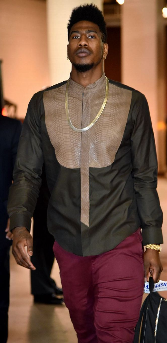 Iman Shumpert's style fits in with the Cleveland Cavaliers' color scheme nicely.