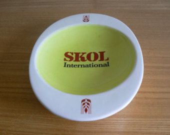 REDUCED ** Great Skol Advertising Ashtray from the Bristol Pottery - Lovely 1970's Shape.