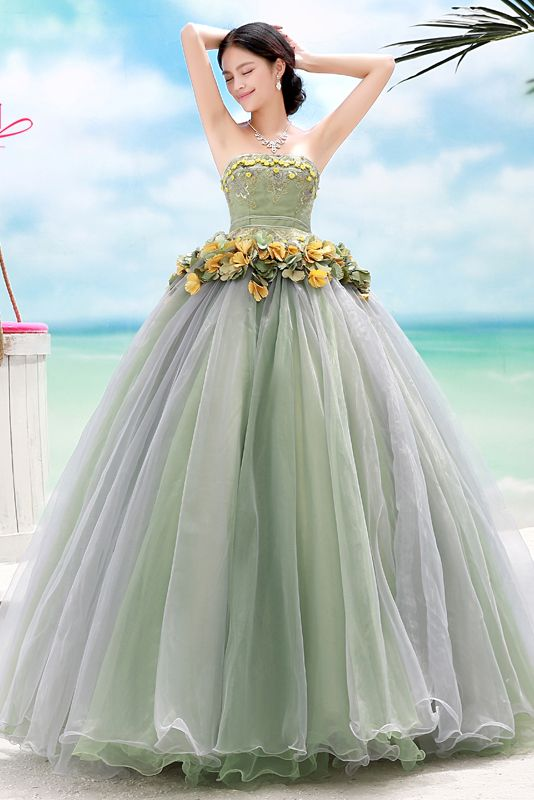 Dathybridal Bare Top Green Sleeveless Floor Length Flower # Ball Gown Lace Up Tulle ...