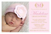 Graceful (Pink...Pretty Pink & Gold Christening Invitation #invitations #christening #pinkandgold #gold