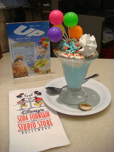 Disney Pixar Up - this is officially on my bucket list. go to the soda fountain and have an UP ice cream sundae.