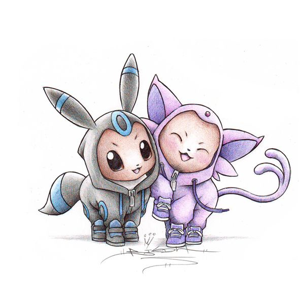 Pokemon dressed as their evolved forms