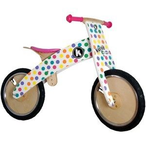 Kiddimoto Wooden Kurve Balance Bike - Pastel Dotty