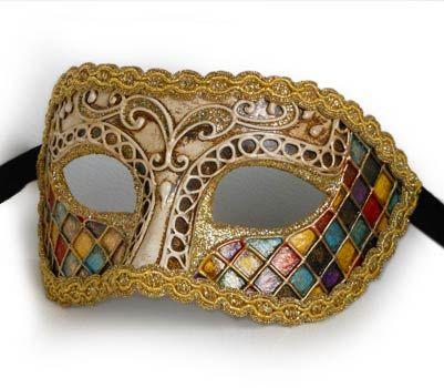 Arlecchino V28 - Maschera  originale veneziana realizzata interamente a mano, in cartapesta e decorata con colori acrili e glitter.