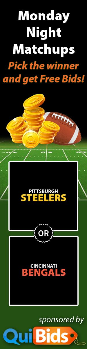 Who will win Monday Night Football tonight: #Bengals or #Steelers?  Tell us via our app on Facebook and you could win 50 #FreeBids!