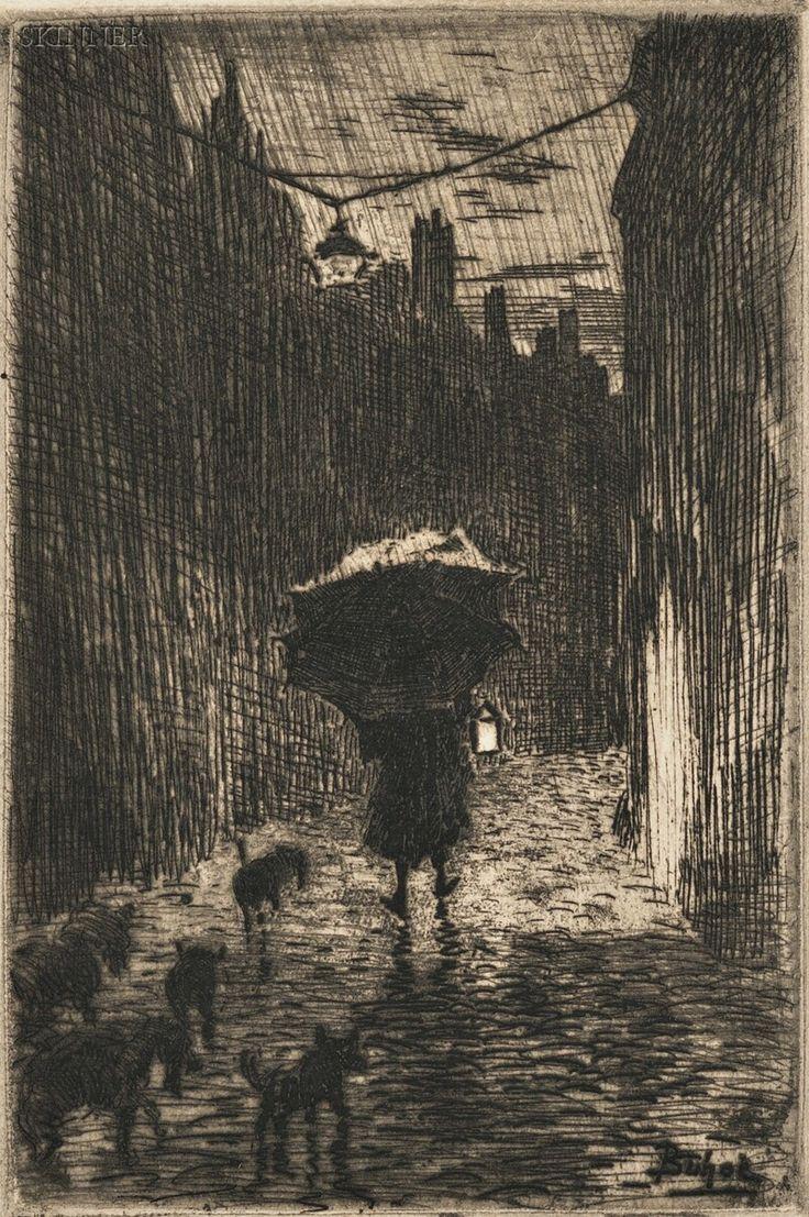 Félix Buhot, Pluie et parapluie, etching