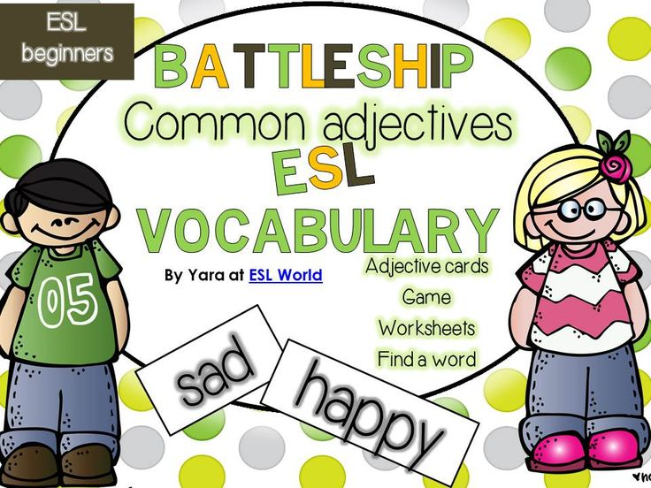 This bundle combines all my worksheets, centers and activities used to reinforce and teach common adjectives to ESL students at a beginner's level. Can be used with practically any ESL grade. $