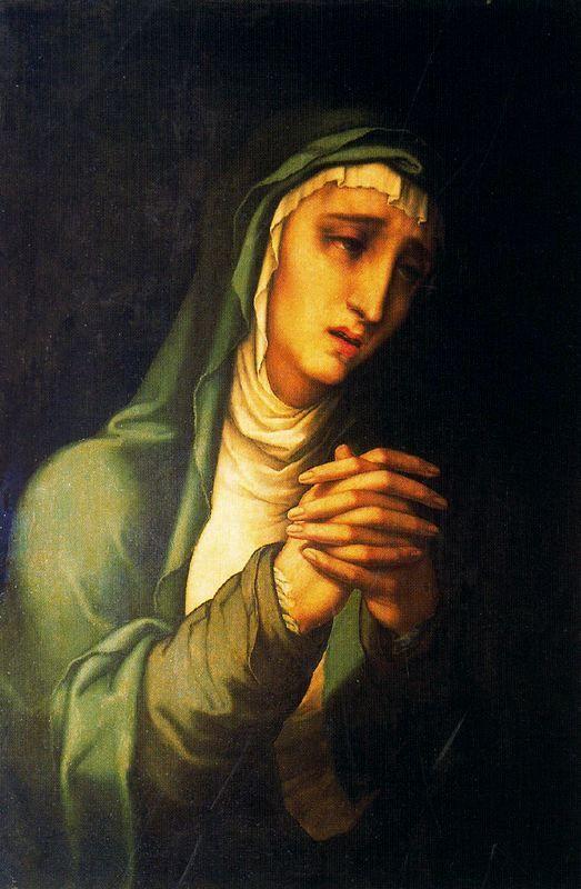 *** Luis de Morales (1509–1586) , Mater Dolorosa, Museo de Málaga. La virgen dolorosa vestirá de luto y junta las manos, con un semblante de angustia o contención, con lágrimas corriendo por sus mejillas. Es frecuente en escultura formando pareja con el Ecce Homo.