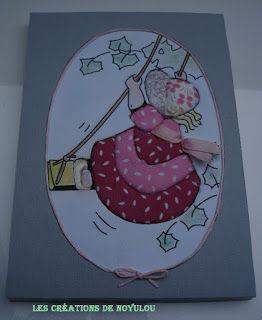 LES CREATIONS DE NOYULOU: Tableau patchwork sur carton mousse : la balançoir...
