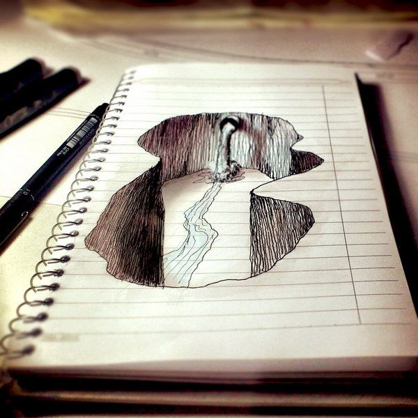 3D Drawings River on Paper, Amazing Pencil Drawings, http://hative.com/50-amazing-pencil-drawings/,