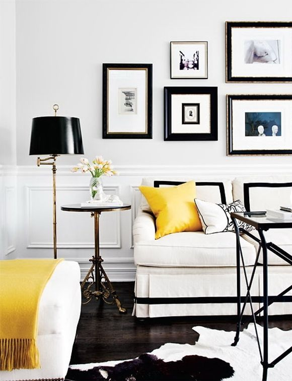 Black And White Living Room With Pops Of Yellow