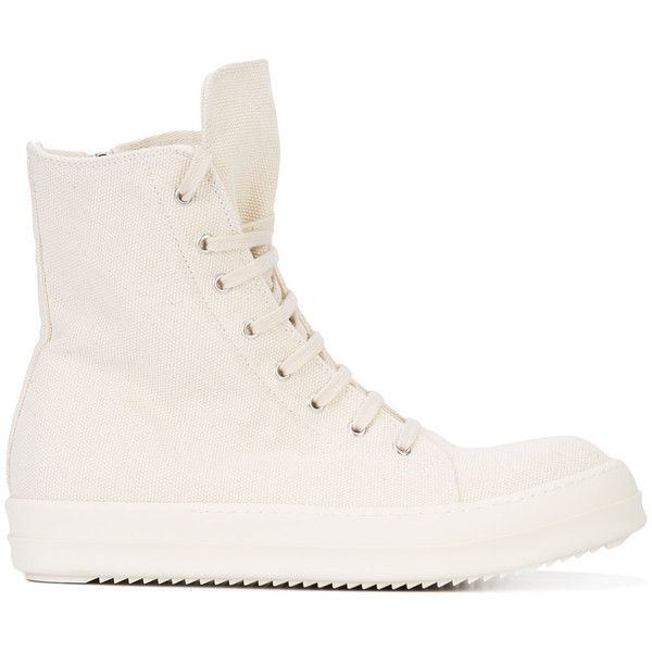 Rick Owens DRKSHDW Scarpe vegan hi-top sneakers (1,505 NZD) ❤ liked on Polyvore featuring men's fashion, men's shoes, men's sneakers, white, mens white sneakers, mens high top shoes, mens vegan shoes, mens white high top shoes and mens white high top sneakers