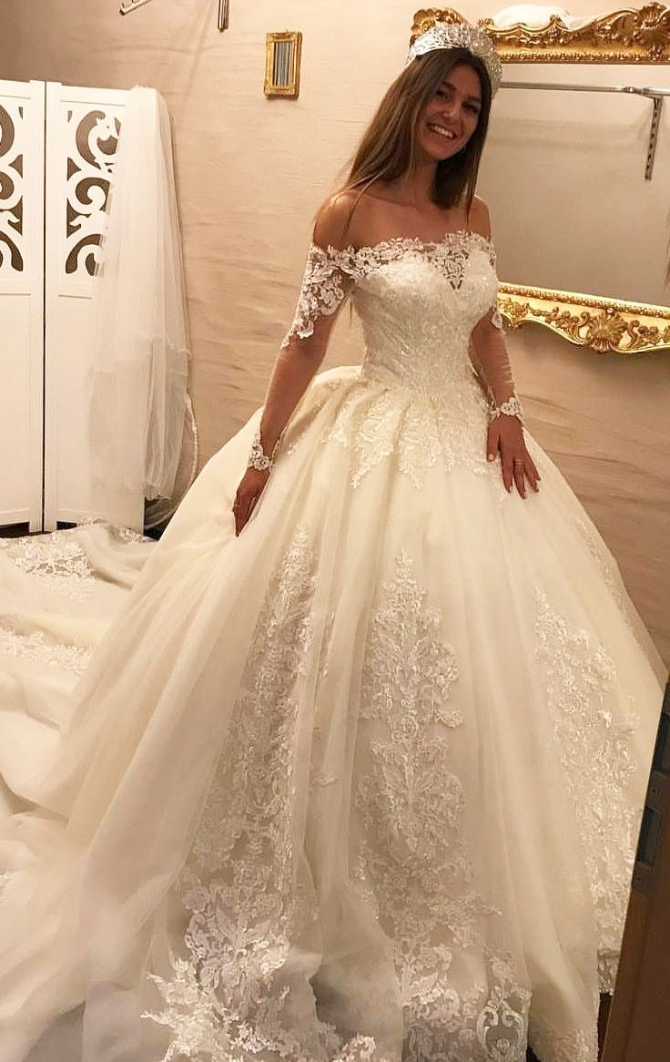 Us 222 00 Ball Gown Tulle Lace Long Sleeves Off The Shoulder Royal Train Wedding Dresses Lalamira Vestidos De Novia Con Cuentas Vestidos De Novia Vestido De Novia Baratos [ 1166 x 736 Pixel ]